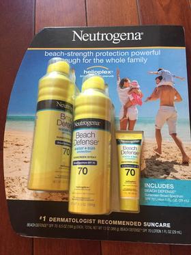 美国直邮 Neutrogena露得清海滩防水防晒喷雾SPF70三件套