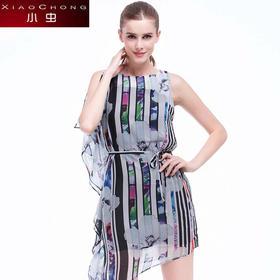 【骆驼子品牌-小虫】小虫夏季新款欧美时尚印花收腰修身显瘦无袖连衣裙女短裙女裙X5LY0262B