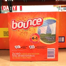 美国直邮 Bounce邦氏四合一柔顺纸香衣纸烘干机用160片 2盒