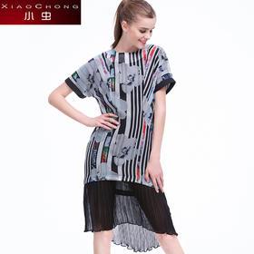 【骆驼子品牌-小虫】小虫夏装新款时尚修身连衣裙显瘦印花百搭短袖中裙女裙X5LY0263B