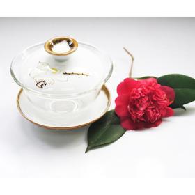 好风光定制 创意三才盖碗 手绘茶具 一人一杯 方便携带 玻璃白瓷