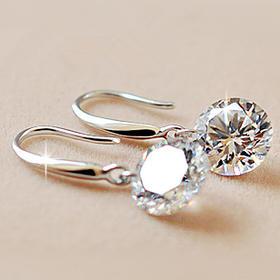 【有赞拼团】正品925纯银饰品长款水晶耳饰耳坠