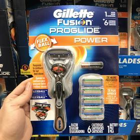 美国直邮 Gillette/吉列Fusion 锋隐至护男士手动剃须刀+5刀头套装