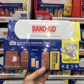 美国直邮BAND-AID邦迪多尺寸规格舒适透气创可贴 带收纳盒 180片