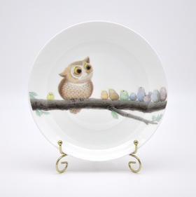 猫头鹰骨瓷精品餐盘套装