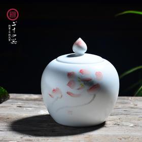 二十四器 景德镇手绘陶瓷茶叶罐 茶罐存茶罐储茶定窑密封罐储物