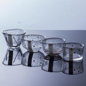永利汇日本描金玻璃茶杯 加厚锤目纹大小个人杯品茗杯 功夫茶具