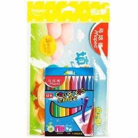 马培德Maped 12色蜡笔保卫萝卜涂色套装填图册填图本填图书涂色本填图画涂色书涂色画