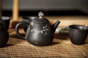 玄铁茶器香器八件套 读者书房原创茶具套装 微雕干枝腊梅鎏银工艺 赠送:茶滤+迷你茶包