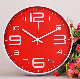 金属烤漆挂钟 立体凸字时钟 12英寸石英钟