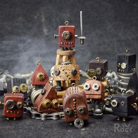 自给 l 木质小机器人 原创设计手工 情人节创意礼品 吊坠 钥匙扣
