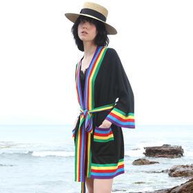 SYUSYUHAN设计师女装品牌 彩虹浴袍式时髦腰带和服式开衫针织衫