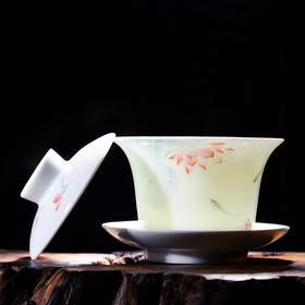 二十四器景德镇手绘粉彩影青陶瓷盖碗泡茶器功夫茶具茶杯三才茶碗
