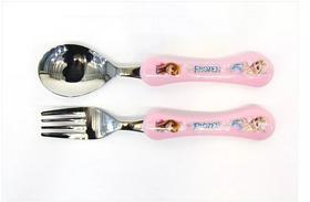 韩国进口宝宝餐具迪士尼冰雪奇缘儿童不绣钢勺叉组合套装正品勺子