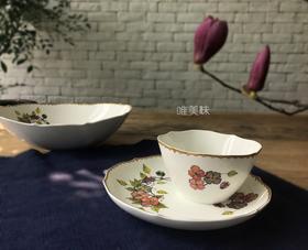 A级真骨瓷 古典花卉镶边异形高级3件套 满包邮