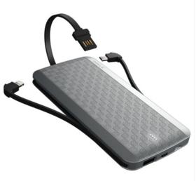 iWALK/爱沃可 T08魔蝎 超薄自带线 苹果充电宝/移动电源 8000毫安 白色 锂聚合物电芯小巧 苹果安卓手机通用