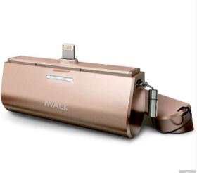 爱沃可(iWALK)iphone6s/3000毫安苹果7专用移动电源背夹电池直插口袋宝 金色
