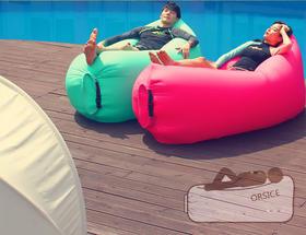 (出行神器)懒人便携式充气沙发单人空气沙发气垫户外成人睡袋躺椅子