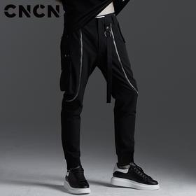CNCN男装 春季金属拉链男装休闲裤 时尚修身男士小脚裤 CNBK19011