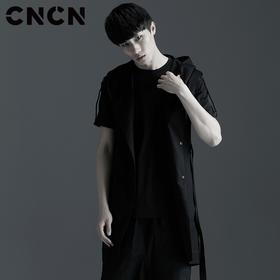 CNCN男装 2017夏季新款连帽马甲 男士修身长款暗黑马甲 CNBG10614