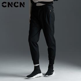 CNCN男装 青年春季黑色休闲裤 男士抗皱潮流束脚裤 CNAK30307