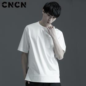CNCN男装 2017夏季新款五分袖男T恤 白色薄款潮牌T恤 CNBX20501