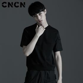 CNCN男装 夏季新款男士修身拼接袖T恤 圆领暗黑t恤 CNBT20901