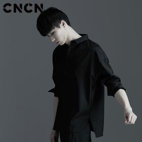 CNCN 春季休闲衬衫 男士立领黑色长袖衬衫 CNAC30504