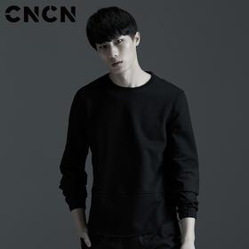 CNCN男装 春季青年长袖t恤 潮款黑色宽松圆领男卫衣 CNAT30207