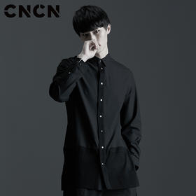 CNCN男装 长款长袖衬衫 薄款潮流男士衬衣 CNAC30301