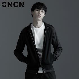 CNCN男装 春季连帽夹克  黑色潮流男士外套CNAJ30904