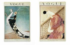 VOGUE经典怀旧 百年插画铁皮画(四款)限时限量包邮送澳洲蓝丁胶