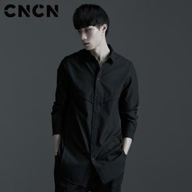 CNCN男装 长款长袖衬衫 抗皱防风男士休闲衬衫 CNAC30302