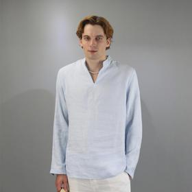 Eabri迎风群岛纯色亚麻长袖休闲衫(天际蓝/沙滩黄)