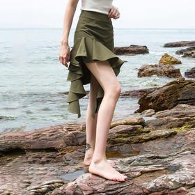 SYUSYUHAN设计师女装 荷叶边拼接不规则鱼尾裙摆女神露腿半身裙