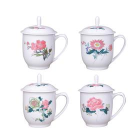 【醴陵瓷谷】四季花卉手绘毛瓷杯 毛主席用瓷