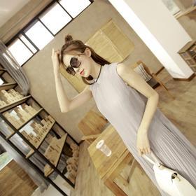 【美货】夏装新款韩版裙子宽松显瘦A字裙褶皱雪纺长裙中长款连衣裙女