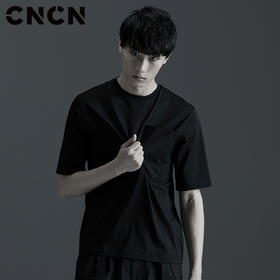 CNCN男装 夏季青年薄款短袖纯棉体恤 男黑色宽松口袋T恤CNBT29002