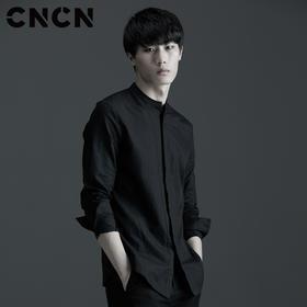 CNCN男士棉麻衬衫 青年薄款透气长袖衬衫 CNAC30211