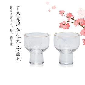 镶嵌着富士山的精美酒杯[日本东洋佐佐木冷酒杯对杯]