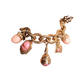 粉色珊瑚石 多挂饰朋克手链(剩粉色)