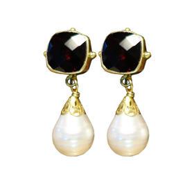 石榴石珍珠耳环