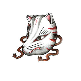 原创图 | 日式传统纹身狐妖面具 by 纹身师 K