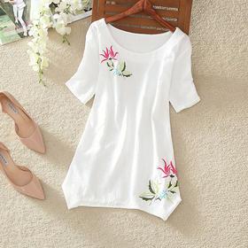 【美货】夏季新款女装圆领绣花套头宽松棉麻T恤民族风文艺短袖上衣女