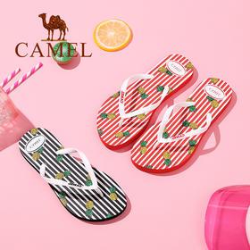 【领券买 更划算】Camel/骆驼女鞋 夏季新品休闲舒适人字拖女 可爱印花沙滩防滑拖鞋A72226666