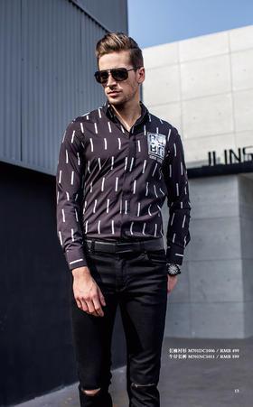 长袖衬衫:M701DC1006¥499; 牛仔长裤:M701NC1011¥599