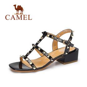 【有赞精选】Camel/骆驼女鞋 夏季新款罗马凉鞋女 铆钉时尚方跟女凉鞋A72511602