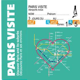 巴黎地铁1-5圈天票Paris Visite