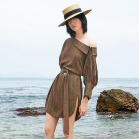 SYUSYUHAN设计师女装 斜肩露肩纽扣不对称条纹衬衫腰带开衩连衣裙
