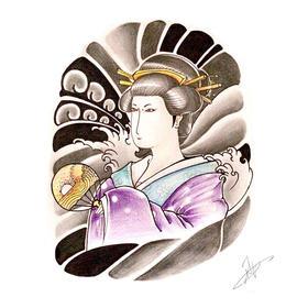 原创图 | 日式传统纹身艺妓 by 纹身师 K